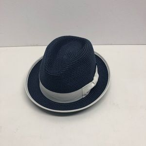 St. Patrick straw hat blue white band